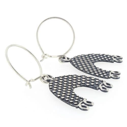 Spotty arch earrings, sterling silver earrings